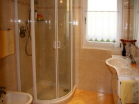 2. bathroom: Shower with washbasin and toilet